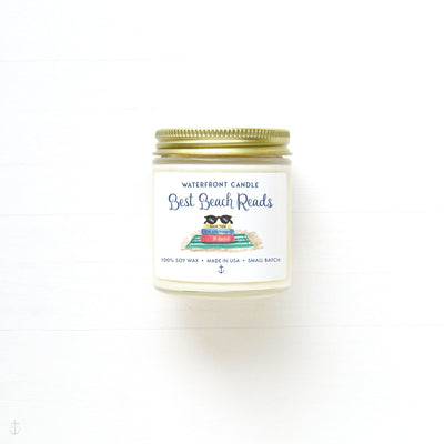 The Best Beach Reads Library scented 4 oz natural soy wax candle by Waterfront Candle