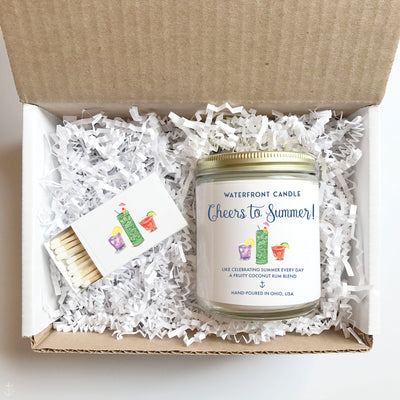 The Cheers to Summer Jamaica Me Crazy scented 9 oz natural soy wax candle gift box by Waterfront Candle