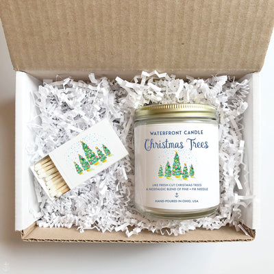 The Christmas Trees Pine scented 9 oz natural soy wax candle gift box by Waterfront Candle