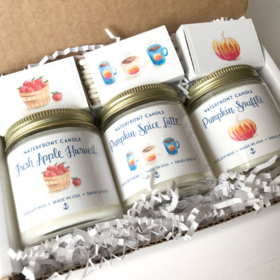 The Fall Sampler Set Fresh Apple Harvest, Pumpkin Spice Latte and Pumpkin Soufflé scented 4 oz natural soy wax candle gift box by Waterfront Candle