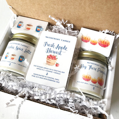 The Fall Sampler with a Fresh Apple Harvest Melt Set Pumpkin Spice Latte and Pumpkin Soufflé scented 4 oz natural soy wax candle gift box by Waterfront Candle