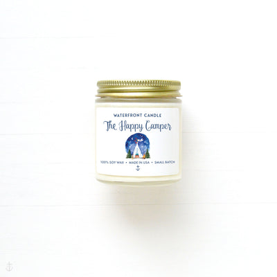 The Happy Camper Fireside scented 4 oz natural soy wax candle by Waterfront Candle