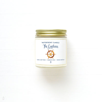 The Captain Fireside scented 4 oz natural soy wax candle by Waterfront Candle