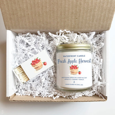 The Fresh Apple Harvest Macintosh Apple scented 9 oz natural soy wax candle gift box by Waterfront Candle