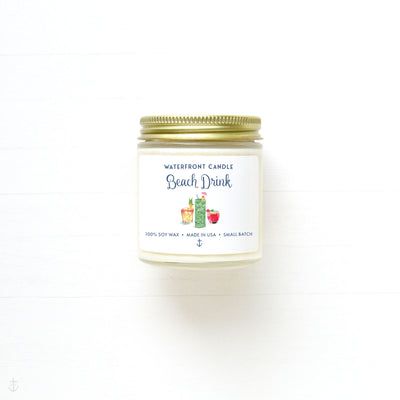 The Beach Drink Coconut Lime scented 4 oz natural soy wax candle by Waterfront Candle
