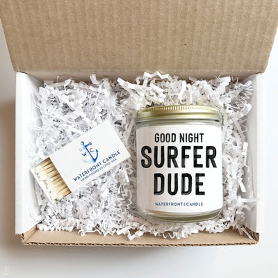 The Good Night Surfer Dude Fireside scented 9 oz natural soy wax candle gift box by Waterfront Candle