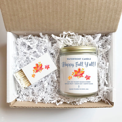 The Happy Fall Y'all Leaves scented 9 oz natural soy wax candle gift box by Waterfront Candle