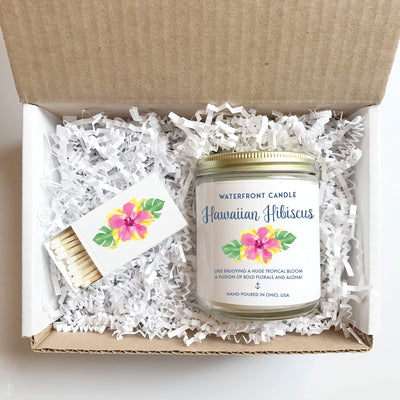 The Hawaiian Hibiscus Hibiscus scented 9 oz natural soy wax candle gift box by Waterfront Candle