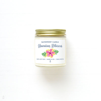 The Hawaiian Hibiscus scented 4 oz natural soy wax candle by Waterfront Candle