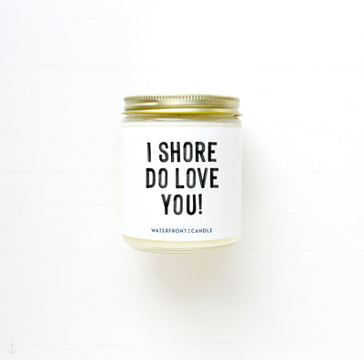 The I SHore Do Love You! Coconut Lime scented 9 oz natural soy wax candle by Waterfront Candle