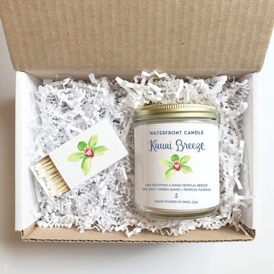 The Kauai Breeze Sea Salt Orchid scented 9 oz natural soy wax candle gift box by Waterfront Candle