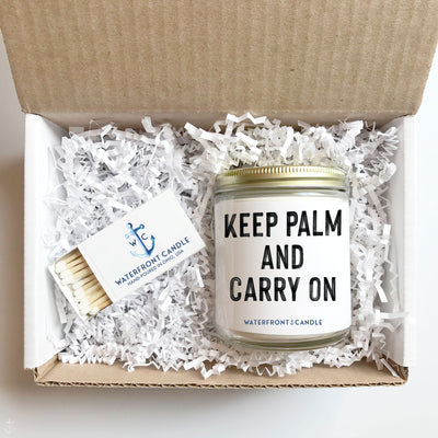 The Keep Palm and Carry On Coconut Lime scented 9 oz natural soy wax candle gift box by Waterfront Candle