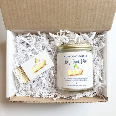 The Key Lime Pie scented 9 oz natural soy wax candle gift box by Waterfront Candle