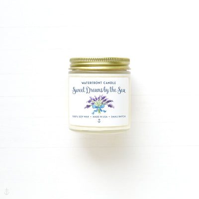 The Sweet Dreams by the Sea Lavender scented 4 oz natural soy wax candle by Waterfront Candle