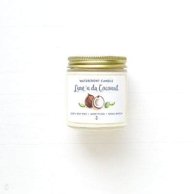 The Lime'n da Coconut scented 4 oz natural soy wax candle by Waterfront Candle