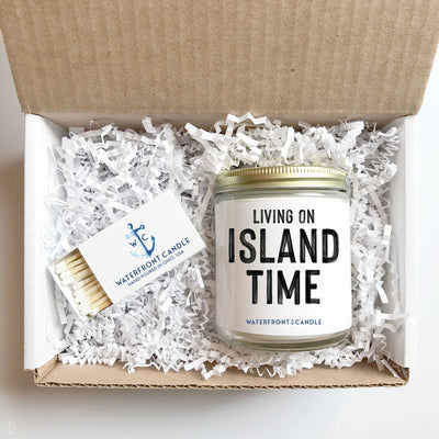 The Living On Island Time Coconut Lime scented 9 oz natural soy wax candle gift box by Waterfront Candle