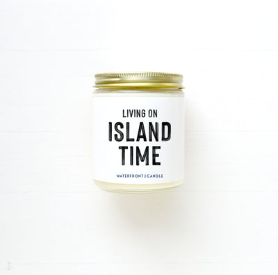 The Living On Island Time Coconut Lime scented 9 oz natural soy wax candle by Waterfront Candle
