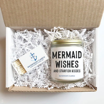 The Mermaid Wishes and Starfish Kisses Salt Water Taffy scented 9 oz natural soy wax candle gift box by Waterfront Candle
