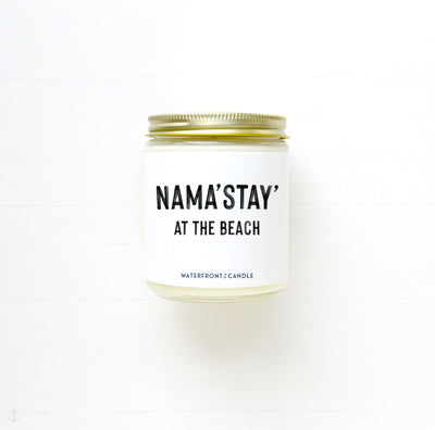 The Nama'Stay' at the Beach Jamaica Me Crazy scented 9 oz natural soy wax candle by Waterfront Candle