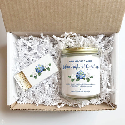 The New England Garden Love Spell scented 9 oz natural soy wax candle gift box by Waterfront Candle