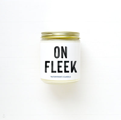 The On Fleek Love Spell scented 9 oz natural soy wax candle by Waterfront Candle