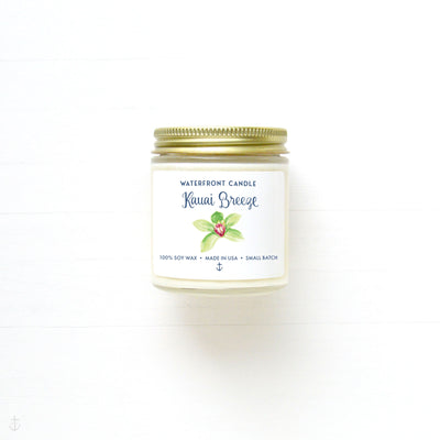 The Kauai Breeze Sea Salt Orchid scented 4 oz natural soy wax candle by Waterfront Candle