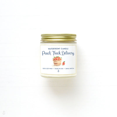 The Peach Truck Delivery Peach scented 4 oz natural soy wax candle by Waterfront Candle