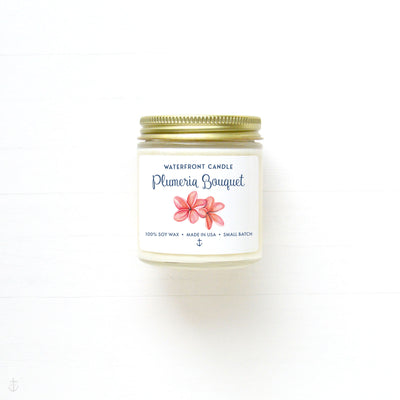 The Plumeria Bouquet scented 4 oz natural soy wax candle by Waterfront Candle