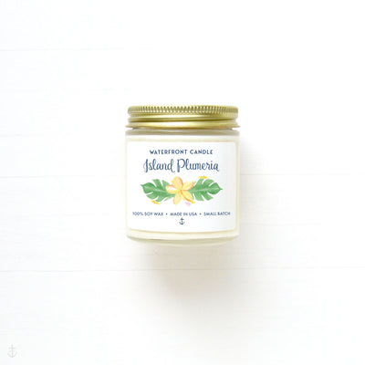 The Island Plumeria scented 4 oz natural soy wax candle by Waterfront Candle