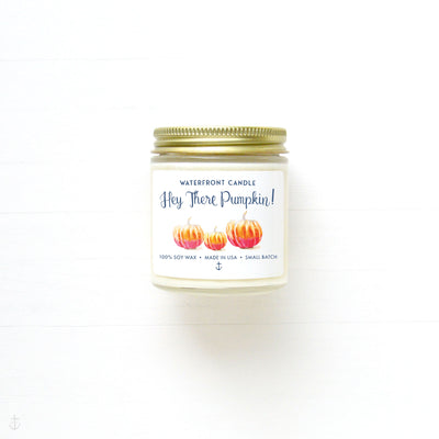 The Hey There Pumpkin scented 4 oz natural soy wax candle by Waterfront Candle