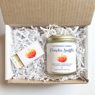 The Pumpkin Soufflé scented 9 oz natural soy wax candle gift box by Waterfront Candle