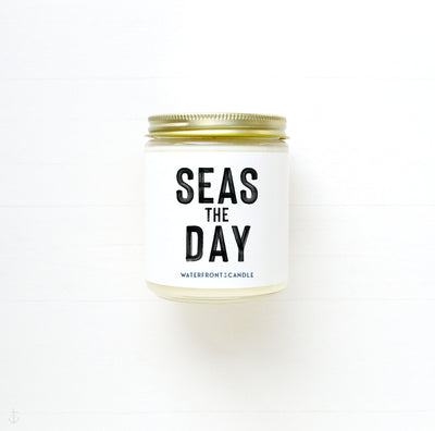 The Seas the Day White Caps scented 9 oz natural soy wax candle by Waterfront Candle