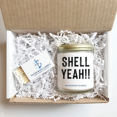 The Shell Yeah!! Mermaid Dreams scented 9 oz natural soy wax candle gift box by Waterfront Candle