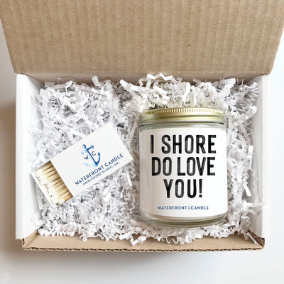 The I SHore Do Love You! Coconut Lime scented 9 oz natural soy wax candle gift box by Waterfront Candle