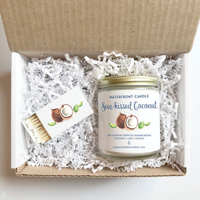 The Sun-kissed Cocnut Coconut Lime scented 9 oz natural soy wax candle gift box by Waterfront Candle