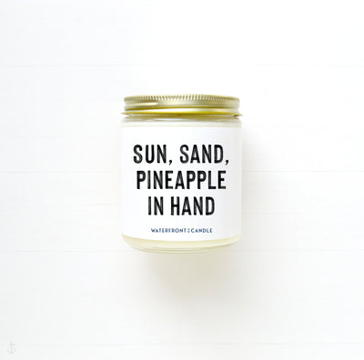 The Sun, Sand, Pineapple in Hand Pineapple scented 9 oz natural soy wax candle by Waterfront Candle