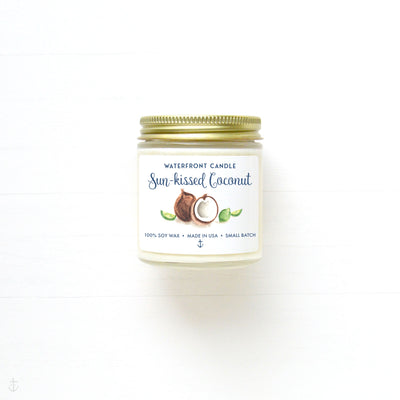 The Sun-kissed Coconut scented 4 oz natural soy wax candle by Waterfront Candle