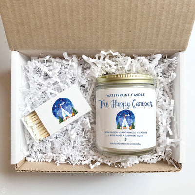 The Happy Camper Fireside scented 9 oz natural soy wax candle gift box by Waterfront Candle