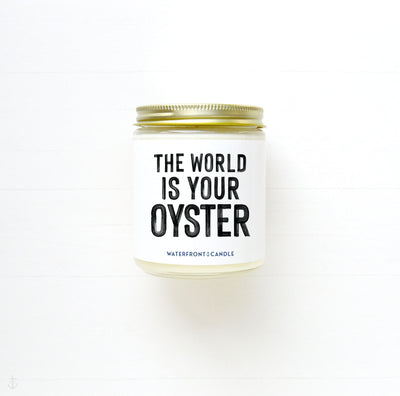 The World is Your Oyster Mermaid Dreams scented 9 oz natural soy wax candle by Waterfront Candle