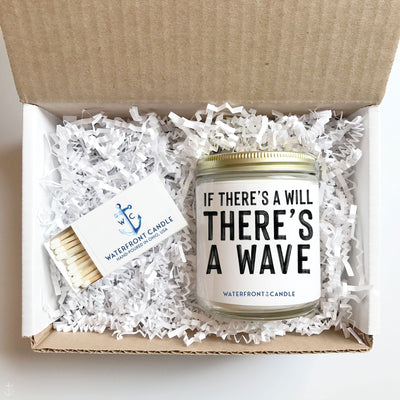 The If There's A Will There's A Wave White Caps scented 9 oz natural soy wax candle gift box by Waterfront Candle