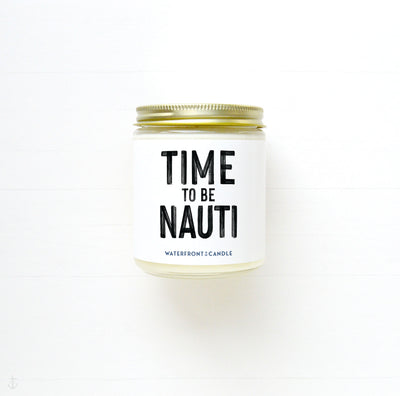 The Time to be Nauti Lake Adventure scented 9 oz natural soy wax candle gift box by Waterfront Candle