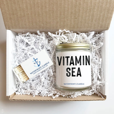 The Vitamin Sea Salty Sea Air scented 9 oz natural soy wax candle gift box by Waterfront Candle