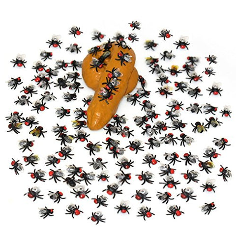 100Pcs Realistic Looking Plastic Flies & 1 Lot Fake Practical Human Poo/Poop Shit For Halloween Decoration or Party Favors