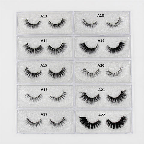 1Pair Lashes False Eyelashes Natural Makeup 3d Mink Lashes Eyelash Extension Make Up real siberian mink strip eyelashes A01