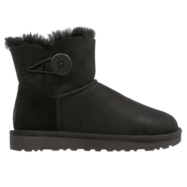 Ugg Australia Mini Bailey Button II Black Womens Boots#color_black