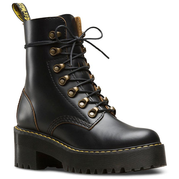 Dr.Martens Leona 7-Eyelet Black Womens Boots#color_black