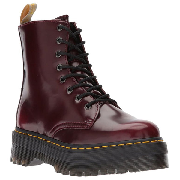 Dr.Martens Vegan Jadon II 8-Eyelet Cherry Red Womens Boots#color_cherry red