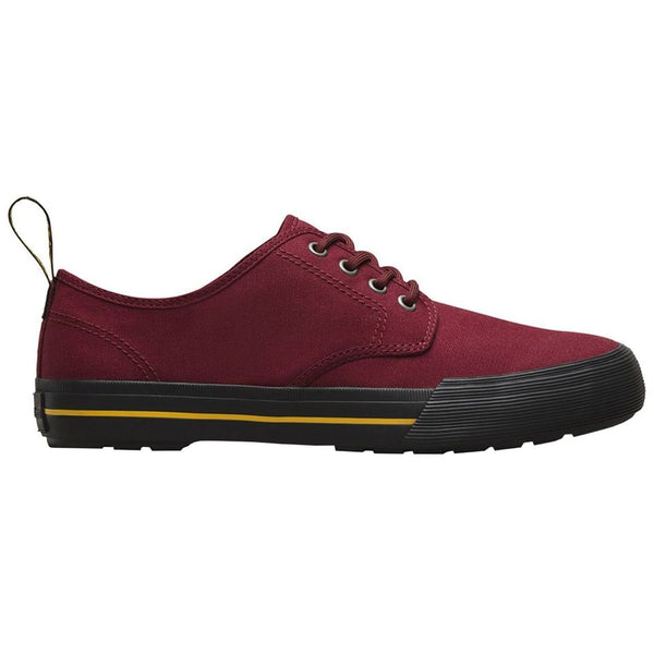 Dr.Martens Womens Pressler 4-Eyelet Canvas Trainers#color_cherry red