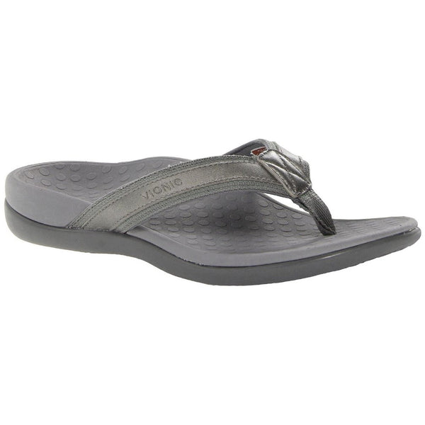 Vionic Womens IN44 Islander Leather Sandals#color_pewter metallic