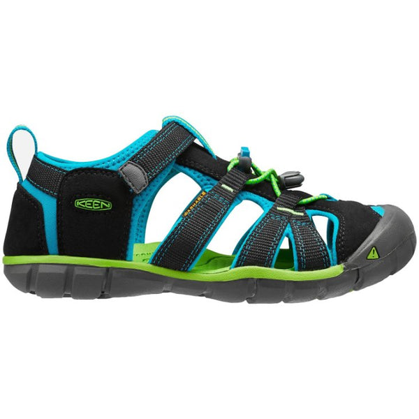 Keen Seacamp II CNX Synthetic Kids Sandals#color_black blue danube